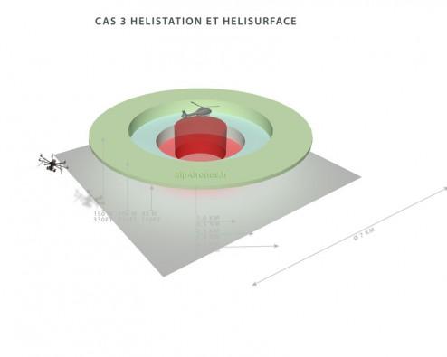 La restriction s'étend jusqu'à 3,5 kilomètres de rayon (7 kilomètres de diamètre) autour d'une hélistation ou d'une hélisurface. Crédit photo : AIP-DRONES.fr