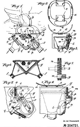Dessins illustrant un brevet déposé par le Dr Julius Neubronner en 1907
