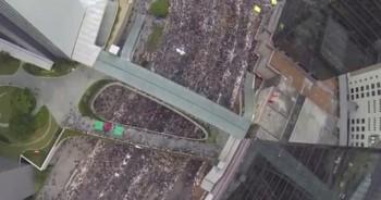 Les manifestations de septembre à Hong Kong, depuis un drone.