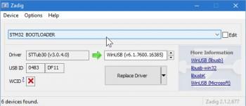 Zadig - STM32 Bootloader