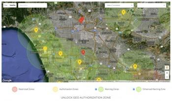 Le futur service Geofence de DJI, à Los Angeles Crédit photo : DJI